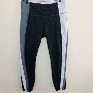 Athleta Colorblock Grey White Black Capris Pant L